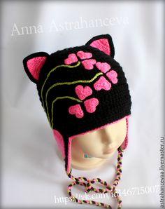 """Купить Шапка """"кошка"""" для девочки зимняя ( холодная осень) - черный, кошка, шапка-кошка"""
