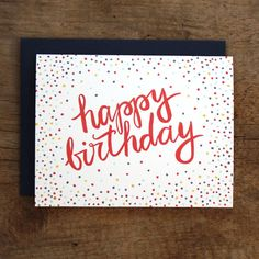 Birthday Confetti Illustrated Card. $4.50, via Etsy.