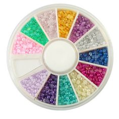 1-Sets Agile Popular 3D Acrylic Nail Art Wheels Case Fashion Colorful Decor Salon Supplies Color Style Half Pearl Gems -- Want additional info? Click on the image.