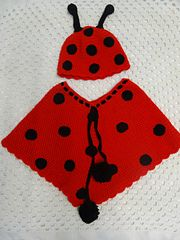 Lady Bug Beanie & Poncho Crochet Pattern - a FREE pattern from me to you:).
