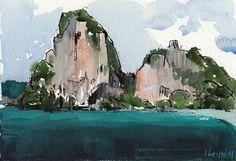 Original Painting Asian Landscape Mountain Thailand Watercolor Sketch…