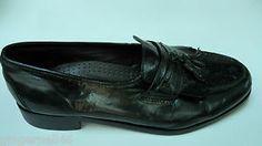 Nun Bush Dress Flex Black Leather Loafers with Tassels Size 10.5 Medium free shipping