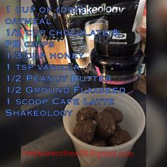 Cafe latte -- chocolate PB protein balls