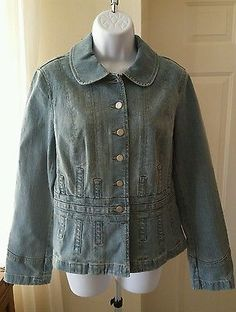 Ebay Auction starts at only $9.99!   Ends soon! ANN TAYLOR LOFT Denim Jean Jacket Size 8 Peplum Light Wash Button Down
