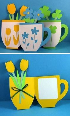 Mother's day cute tea-cup card ‪#‎idea‬ #art #inspiration #handmade                                                                                                                                                                                 More