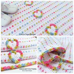 Love U Lots Like Jelly Tots ~ Colorful baby blanket by Kerry Jayne Designs, pattern not free #crochet