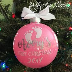 Babys First Christmas Ornament Baby Girl - Ideas of Teagan Baby Name - Baby's First Christmas Ornament Baby Girl Whisker Kisses Designs Baby's 1st Christmas Ornament, Babys 1st Christmas, Christmas Baubles, Christmas Decorations, Disney Christmas, Felt Christmas, Homemade Christmas, Vinyl Ornaments, Baby Ornaments