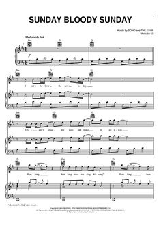 """Sunday Bloody Sunday"" Sheet Music: www.onlinesheetmusic.com"