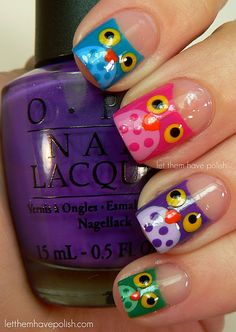 As you know, I love owls. I took my obsession and started a board on Pinterest just for all of my favorite owl finds!I found this wonderful Owl Fingernail Polish Tutorial on Let Them Have Polish. This will make a fun DIY project this weekend. I'm using my daughter's toes as my tester!Have a great weekend! -Amy