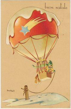 BUON NATALE - AUGURALE - MONGOLFIERA - ILLUSTRATORE BONFANTI 1949
