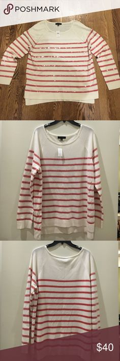 Ann Taylor Sequined Boat Neck Sweater, Size XL I love this sweater from Ann Taylor! The pretty rose-colored striped pattern, subtle sequin overlay, ribbed trim and soft, flattering fit adds all the right elements to a fabulous closet addition. Brand new with tags condition. Size XL, pullover style, 40% viscose, 30% wool and 30% nylon. Tres chic! 💕 Ann Taylor Sweaters Crew & Scoop Necks