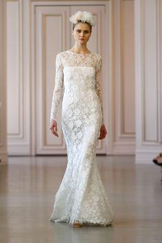 2016春の#ウェディングドレス コレクションより気になるドレストップ10⑨ Oscar de la Renta ivory corded macrame and floral chevron lace dress with ruffle back, price upon request; for information: oscardelarenta.com