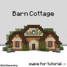 Minecraft Barn, Minecraft House Plans, Minecraft Mansion, Easy Minecraft Houses, Minecraft House Tutorials, Minecraft Decorations, Minecraft Construction, Amazing Minecraft, Minecraft Tutorial