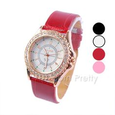 $10.65 Women's Watch Rhinestones Waterproof Leather Quartz Analog Wrist Watch - 4 colors - BornPrettyStore.com