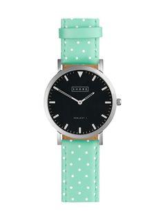 Pretty Polka Dot Strap Watch in Mint