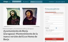 Recogida de firmas para mantener la restauración del Ecce Homo    http://www.europapress.es/portaltic/internet/noticia-recogida-firmas-online-ecce-homo-borja-quede-asi-20120823112954.html