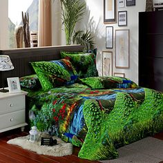 Duvet Cover Set,4-Piece Peacock Pattern Full Size – CAD $ 83.37