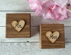 Mr Mrs Wedding Ring Box set Ring Bearer Ring Boxes Wedding Ring Boxes Wedding Ring Pillow His Hers Rustic Ring Boxes with Burlap Set of 2    MATERIAL: Wooden box. Closing with magnets.    COLOR: Walnut (oak available too)    DECORATION: On the lid, a wooden heart engraved. Interior with burlap for your rings. (If you want moss inside, instead of burlap, please, contact me)    PERSONALIZED: Yes.   - Outside: His/ Hers, Mr./Mrs or Initials ( please select the option)   - Inside: You can chose…