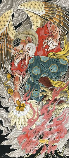 AR - Draw of the Orient - Tengu AR - Draw of the Orient - Tengu (Prints) Japanese Art Prints, Japanese Artwork, Japanese Tattoo Art, Japanese Painting, Badass Drawings, Demon Drawings, Tatuaje Tengu, Tengu Tattoo, Japan Tattoo Design
