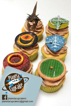 Lord of the rings cupcakes. Vanilla bean cake. Chocolate fudge filling. Mocha butter cream. Gum paste cupcake toppers.