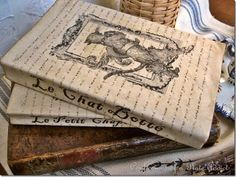 DIY:  Vintage French Fairy Tale Book Covers - this post has a tutorial + great graphics that you can print to cover paperback books.