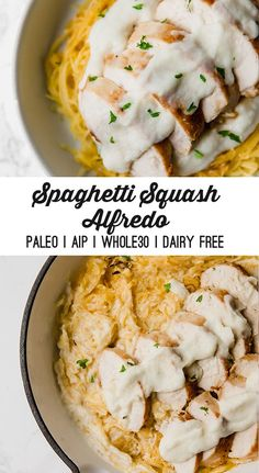 Paleo Spaghetti Squash Chicken Alfredo (AIP & Dairy Free) This spaghetti squash chicken alfredo is the perfect paleo alternative to a classic! It's made with a cauliflower alfredo and is dairy-free, and AIP. Dairy Free Recipes, Paleo Recipes, Real Food Recipes, Chicken Recipes, Paleo Food, Paleo Pasta, Gluten Free, Paleo Meals, Dinner Recipes