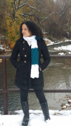 Crochet color block winter scarf Thick and by reneeoriginals1#fashion #fashionista #model #moda #monday #winter #nature #water #trees #chunkycrochet #blue #snowfall #women #gift #frenchgirl #polishgirl #black #outside #outfit #ootd #TagsForLikes #instagood #instawinter #instasnow #photooftheday #colorblock #scarf