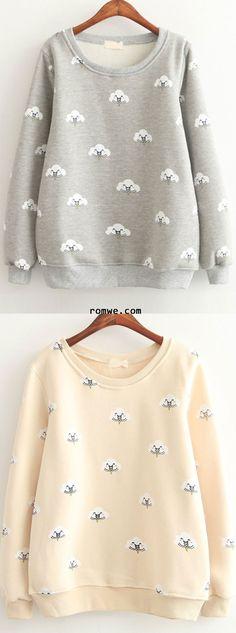 Cute Girl - Beige & Grey Cloud Print Long Sleeve Sweatshirts from romwe.com