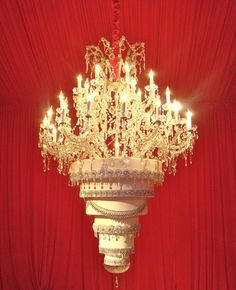 The ULTIMATE #wedding #cake!!! Kaley Cuoco's upside chandelier wedding cake by The Butter End Cakery