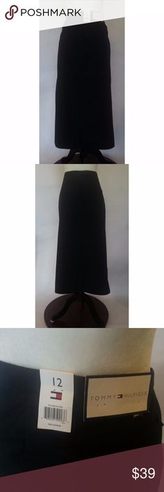 "TOMMY HILFIGER Long Black Straight Skirt This is a heavy ""canvas"" type cotton blend Two Hidden Zip Back Pockets  Zippered Side Slit, Bottom Left  Button/zip fly in front  Waist (across front, lying flat): 16"" Length:  32"" Tommy Hilfiger Skirts Maxi"