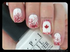 Sparkly Canada day nails