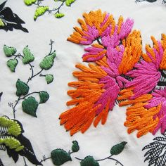 embroidery following fabric print