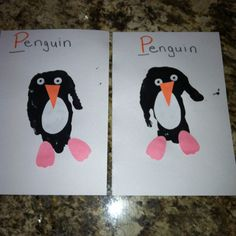 P is for penguin- handprint craft