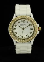 Crystal Large Round Face White/Gold Silicone Watch www.sterlingjewelrystores.com