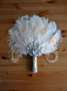 Bridal brooch Bouquet Ostrich Big alternative Feather Fan Bridal Bouquet Ivory Great Gatsby 1902s art deco wedding Roaring 20's bouquet