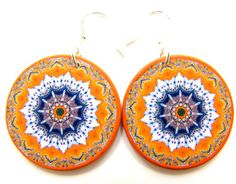 Decoupage earrings, big statement earrings, bright colorful earrings, bohemian earrings, orange dangle earrings, round gypsy earrings