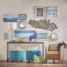 Get inspired by Coastal Living Room Design photo by Wayfair. Wayfair lets you find the designer products in the photo and get ideas from thousands of other Coastal Living Room Design photos. Decor, Fish Wall Decor, Round Storage Ottoman, Beach House Decor, Rustic Coastal Decor, Coastal Living Rooms, Living Decor, Cottage Decor, Interior Design