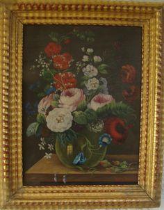 Bouquet De Fleurs Sur Un Entablement Huile/pann Ecole Belge 19ème