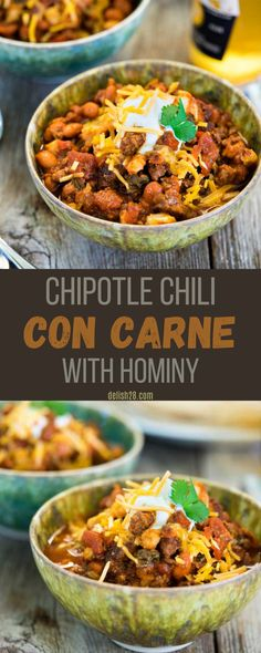 CHIPOTLE CHILI CON CARNE WITH HOMINY
