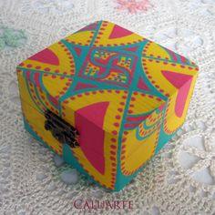 Conjunto de cajas de madera pintadas a mano, Madera, Cajas