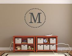 Single Letter Wall Decal Family Name Initial Year Established - Monogram wall decals letters