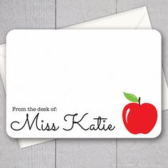 Teacher Note Cards, Personalized Flat Note Cards, Teacher Gifts under 15, Printed with Envelopes (Apple)