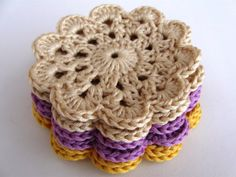 Lilac Cream and Yellow Crochet Coasters set of six by matemo, €12.00