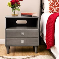 The Marley modular nightstand features a modern design with generous storage to accommodate all your bedtime essentials. Finished in light charcoal grey, this handsome nightstand offers two generous drawers and a spacious open shelf. Bedroom Furniture Stores, Furniture Deals, Wood Furniture, Furniture Outlet, Online Furniture, Furniture Websites, Furniture Movers, Garden Furniture, Modern Furniture