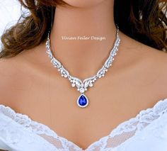 Royal Blue Wedding Necklace Cobalt Bridal Necklace Crystal Tear Drop Jewelry Red Emerald Green Purple Statement Necklace