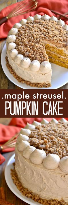 Moist, delicious pumpkin cake, layered with maple cinnamon buttercream and crunchy streusel. Perfect for Thanksgiving or any fall celebration! Elizabeth made this cake for my birthday, So moist, and delicious! Mini Desserts, Fall Desserts, Just Desserts, Dessert Recipes, Health Desserts, Christmas Desserts, Dinner Recipes, Health Foods, Dessert Ideas