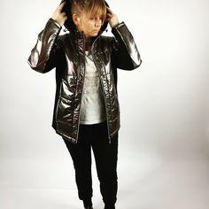 Metalizowane kurtka wiosenna xxl.  Sklep internetowy: lucidaplussize.pl Punk, Leather Jacket, Jackets, Style, Fashion, Studded Leather Jacket, Down Jackets, Swag, Moda