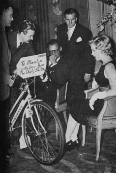 The Brits are so lovely! They bought Marilyn a bicycle     [1956]