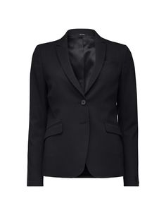 """Women's feminine, slightly longer blazer in wool-stretch. Features a two-button fastening and peaked lapels. Soft, slightly wider shoulders. Slanted welt pockets with flaps and one chest pocket. Cutlines at front. Slit at cuff with two concealed buttons. Fitted, regular fit. Above hip length.  </br></br>For a complete suit look wear it with <a href=""""http://tigerofsweden.com/se/trousers/lovann-5-trousers-S62758005Z.html"""" styl..."""