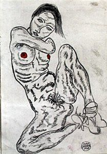 (Nude) Graphire Drawing on Paper - Egon Schiele 1910 : Lot 537, 3450$ auction